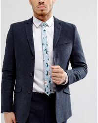 ASOS - Floral Tie In Pale Blue for Men - Lyst