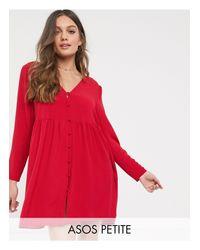 Vestido corto y amplio con botones en rojo ASOS de color Red