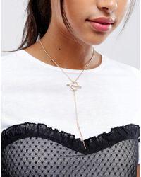 New Look | Metallic Sleek Circle Lariot Necklace | Lyst
