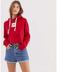 Hollister Red Hoodie With Box Logo