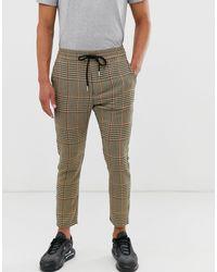 Pantaloni marroni a quadri grandi pied di Only & Sons in Brown da Uomo