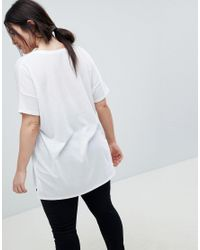 ASOS Asos Design Curve Oversized Longline T-shirt With V-neck In Lightweight Rib In White