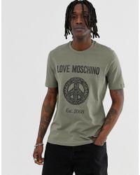 Love Moschino Green Baroque Peace T-shirt for men