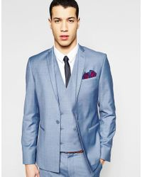ASOS Black Skinny Blazer With Straight Hem In Blue for men