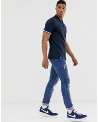Originals - Polo à bandes - Bleu marine Jack & Jones pour homme en coloris Blue