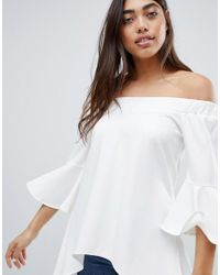 Glamorous White Off Shoulder Tunic Top