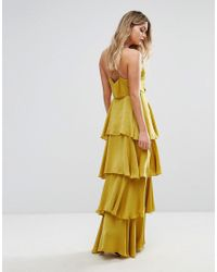 Missguided Yellow Tiered Ruffle Maxi Dress