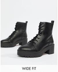 Raider - Bottines lacées pointure large à semelles épaisses ASOS en coloris Black