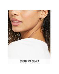 Серьги-кольца С Отделкой Стразами, Дизайном В Два Ряда И Покрытием Из Серебра И Золота ASOS, цвет: Metallic