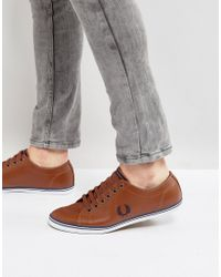 Fred Perry - Brown Kingston Leather Plimsolls Tan for Men - Lyst