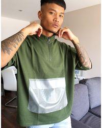 T-shirt oversize testurizzata kaki con tasca trasparante di ASOS in Green da Uomo