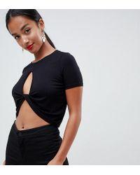 Camiseta corta escotada con diseño retorcido ASOS de color Black