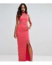4a82cf22a1b Bariano High Neck Embroidered Lace Maxi Dress in Orange - Lyst