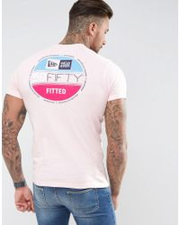 KTZ | Pink T-shirt With 59 Fifty Back Print for Men | Lyst