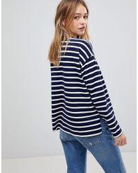 ASOS - Blue Stripe Top In Baby Loop Back - Lyst
