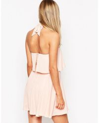 ASOS - Pink Bandeau Crop Top Skater Dress With Wide Straps - Lyst