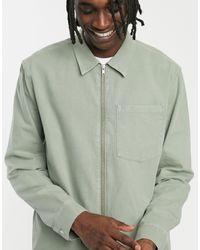 Camicia di jeans kaki con zip di Weekday in Green da Uomo