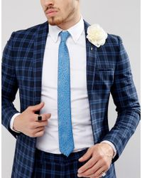 Noose And Monkey | Blue Wedding Tie In Floral for Men | Lyst
