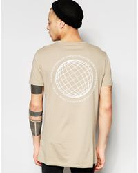 ASOS - Brown Longline T-shirt With Globe Print In Beige for Men - Lyst