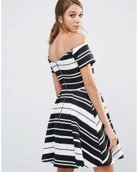 Oasis - White Asis Textured Stripe Bardot Dress - Lyst