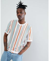 ASOS Multicolor Knitted T-shirt With Vertical Stripes In Ecru for men