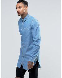 ASOS - Blue Super Longline Denim Shirt With Mini Collar In Mid Wash for Men - Lyst