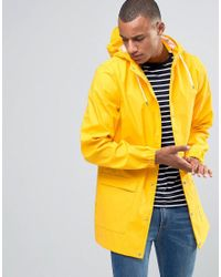 D-Struct Yellow Longline Water-resistant Jacket With Hood for men