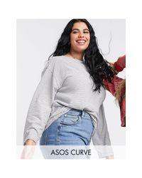 ASOS DESIGN Curve - T-shirt oversize a maniche lunghe a righe testurizzate di ASOS in Gray