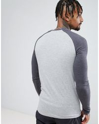ASOS - Gray Long Sleeve Muscle T-shirt With Contrast Raglan Sleeves In Grey Marl/charcoal Marl for Men - Lyst
