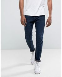 Bershka Blue Skinny Jeans In Dark Wash for men