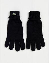 Gants en maille avec logo - Noir Lacoste pour homme en coloris Black