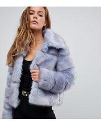 Giacca corta premium in pelliccia sintetica di Missguided in Blue