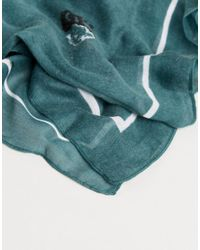 Pieces - Green Lightweight Square Scarf - Lyst