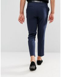 ASOS Blue Skinny Cropped Smart Trousers In Navy for men