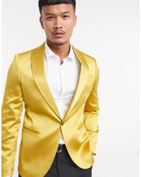 Twisted Tailor Yellow Sateen Suit Jacket With Shawl Lapel for men