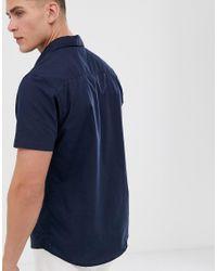 Threadbare Blue Embroidered Surf Short Sleeve Shirt for men
