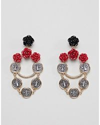 ASOS - Metallic Rose And Coin Chain Drop Earrings - Lyst