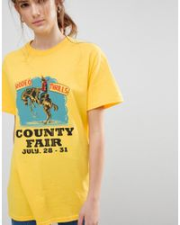 Daisy Street - Yellow Boyfriend T-shirt With Rodeo Print - Lyst