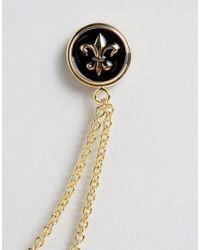 ASOS - Metallic Fleur De Lis Collar Tips With Chains - Gold for Men - Lyst