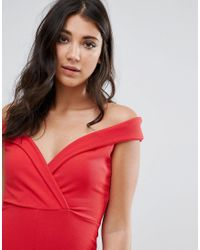 Missguided Red Wrap Bardot Jumpsuit