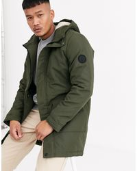 Only & Sons Green Parka With Borg Lined Hood And Removable Faux Fur Trim for men