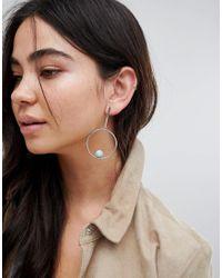 ASOS Metallic Marble Effect Ball And Open Circle Earrings