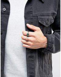 ASOS Metallic Signet Ring Pack In Burnished Gold for men