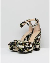 Public Desire Ultra Black Embroidered Platform Heeled Shoes