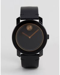 Movado - Bold 3600297 Leather Watch In Black for Men - Lyst