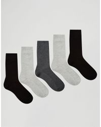 ASOS | Black Waffle Socks 5 Pack In Monochrome Save 33% for Men | Lyst