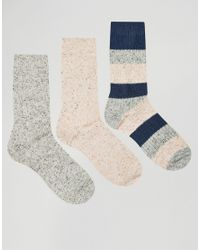 ASOS - Multicolor Boot Socks With Neps 3 Pack for Men - Lyst