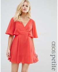 ASOS | Red Wrap Front Mini Dress With Angel Sleeve | Lyst