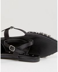 New Look Black Jewelled Pointed Flat Shoe