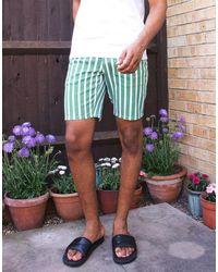 Pantaloncini di jeans slim corti a righe verdi e bianche di ASOS in White da Uomo